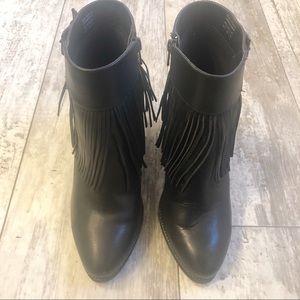 Aldo Shoes - ALDO Tahlia Black Leather Fringe Stack Heel Bootie